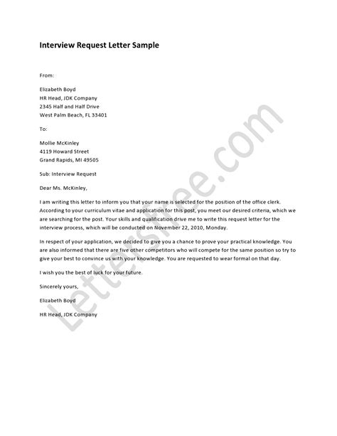tips  writing interview request letter resume