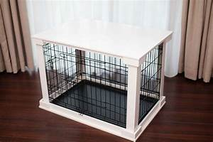 merry products end table covered decorative dog cat With white dog crate table