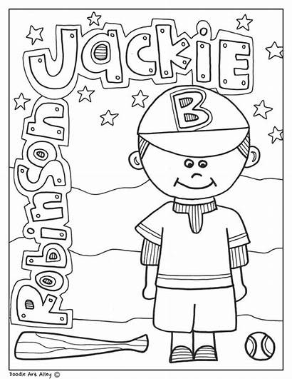 Coloring Jackie Robinson History Month Pages Printable