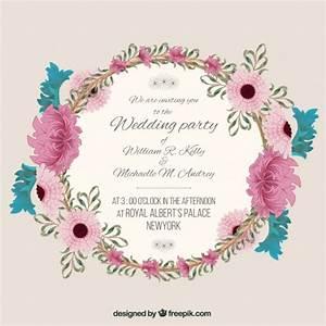 wedding invitation with floral frame vector free download With wedding invitations with flowers vintage frame