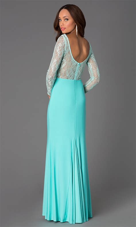 Long Sleeve Lace Bodice Cheap Prom Dress Promgirl