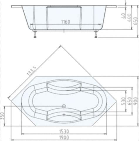 Sechseck Badewanne Maße by Sechseck Badewanne Tokata Xl 190 X 90 X 48 Cm