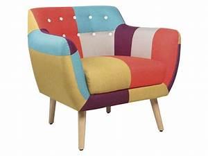 Conforama Chaise Scandinave : fauteuil en tissu patchwork stockholm vente de chaise de ~ Teatrodelosmanantiales.com Idées de Décoration
