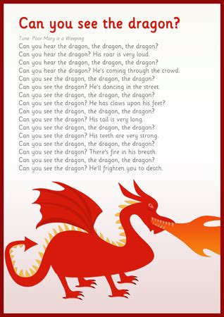 dragon song  early years primary teaching