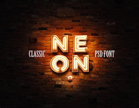 neon psd font classic version  behance