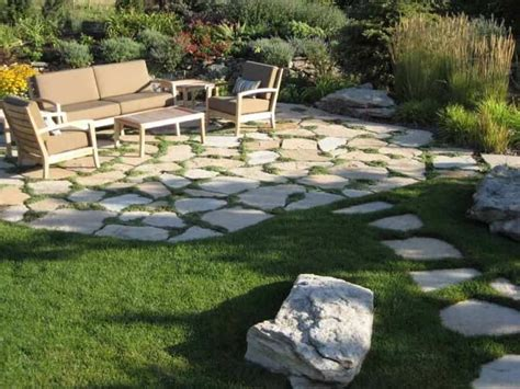 Flagstone Patio With Modern Furniture-stylish Outdoor