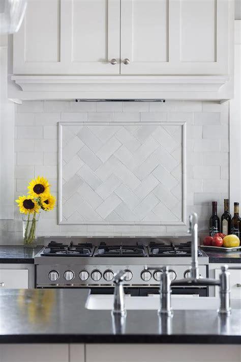 White Glass Herringbone Cooktop Tiles   Transitional   Kitchen