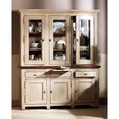 interiors cuisine haut de buffet vaisselier 3 portes vitrées beige