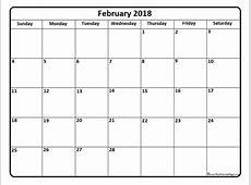 February 2018 Calendar Template calendar printable free