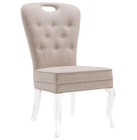 Anais Hollywood Regency Acrylic Tufted Linen Dining Side