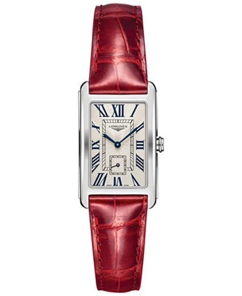 longines womens swiss longines dolcevita red leather