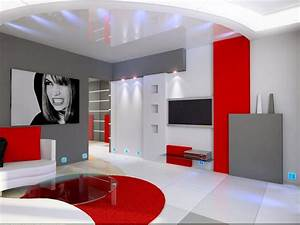 photo idee deco salon gris et rouge With deco salon gris et rouge