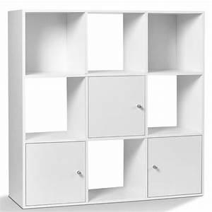 Meuble Casier Rangement : meuble de rangement cube 9 cases bois blanc avec 3 portes meubles ~ Teatrodelosmanantiales.com Idées de Décoration
