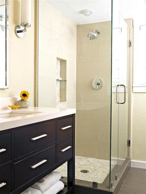 sleek modern bathroom with glass wall shower hgtv