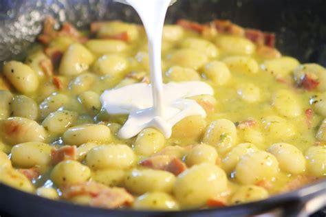 gnocchi sauce recipes creamy pesto gnocchi with bacon parmesan kevin amanda s recipes food travel blog