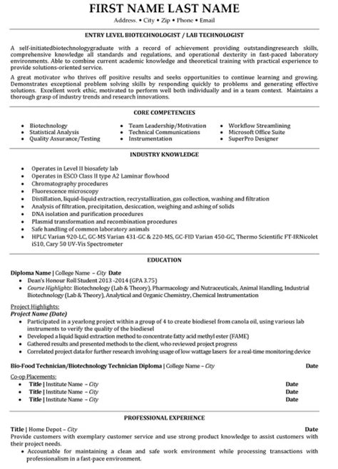 Biotech Resumes by Top Biotechnology Resume Templates Sles