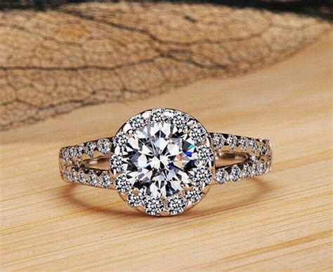 2 carat 8mm sona simulated engagement rings for sterling silver ring size 9