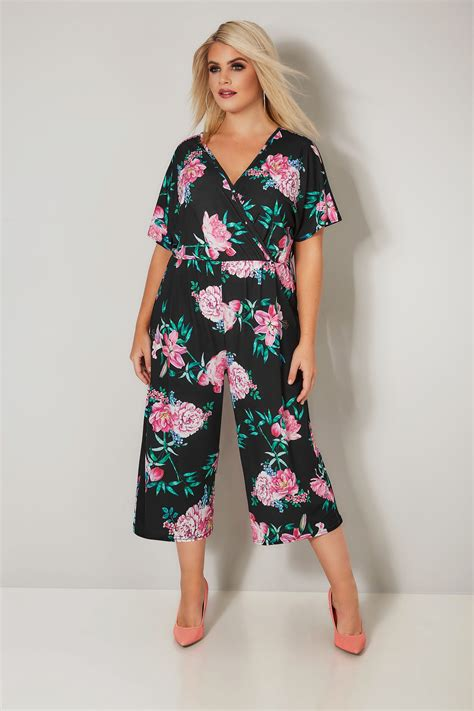 limited collection black pink floral jumpsuit plus size 16 to 32