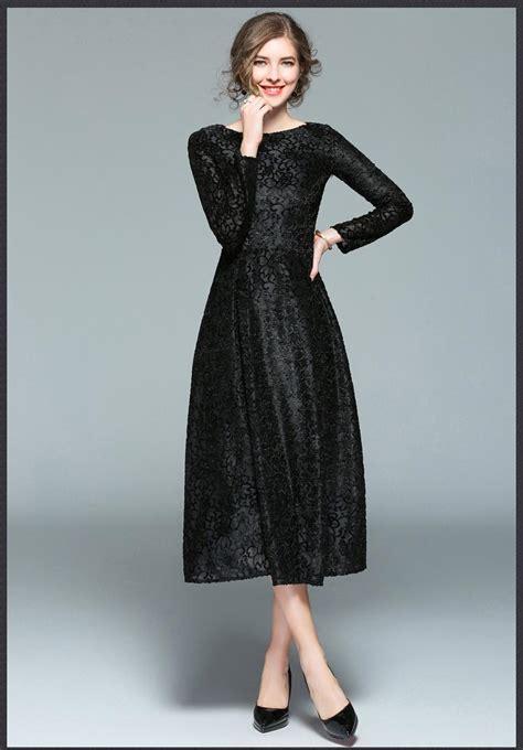 Women Mid Calf Long Casual Velvet Jacquard Black Dress
