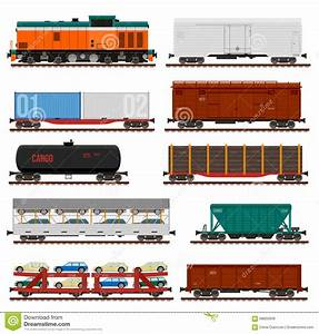 Vector Set Of Train Cargo Wagons, Tanks, Cars Stock Vector ...