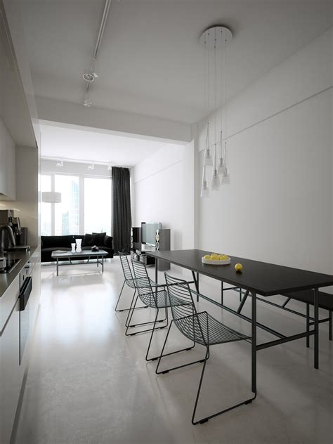 Beautiful Modern Minimalist Loft With A View by Black Dining Table Set Interior Design Ideas