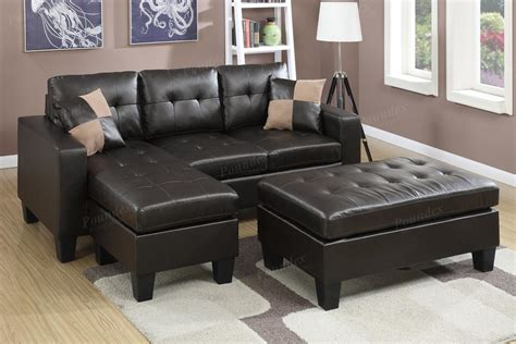 poundex cantor  brown leather sectional sofa
