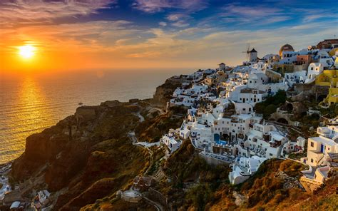 santorini island  greece aegean sea sunset desktop wallpaper hd  mobile phones  laptops