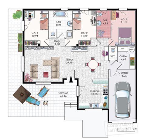 plan maison etage 3 chambres gratuit villa dé du plan de villa faire construire