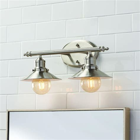 bathroom lighting collections home decorators collection 2 light brushed nickel retro
