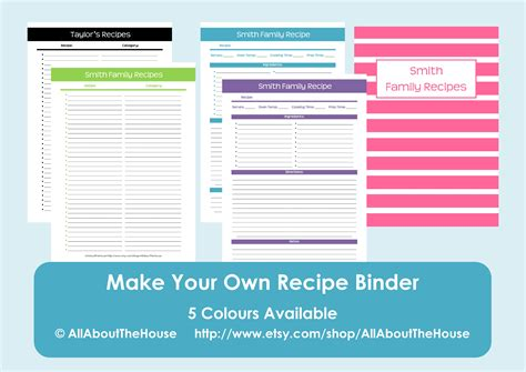 make your own cookbook template make your own personalised printable recipe binder allaboutthehouse printables