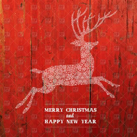 christmas deer silhouette  red planks texture vector
