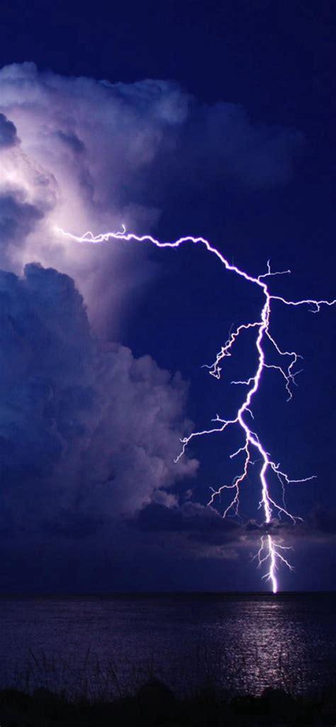 storm lightning  lake night sky view iphone