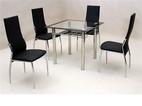 square dining table set small square clear black glass dining table and 4 chairs