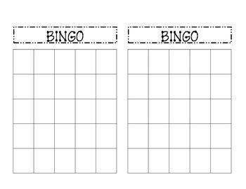 amusing blank bingo cards   kittybabylovecom
