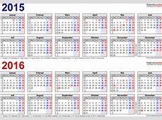 Zweijahreskalender 2015 & 2016 als ExcelVorlagen zum