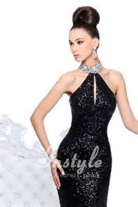 black sequin bridesmaid dresses black sparkle sequins sheath prom dress with beaded halter instyledress co uk