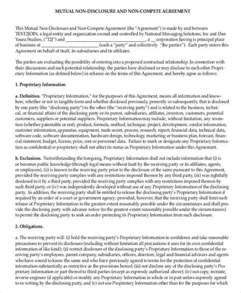 simple  compete agreement templates  word