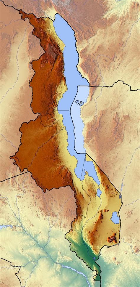 detailed relief map  malawi malawi africa mapsland