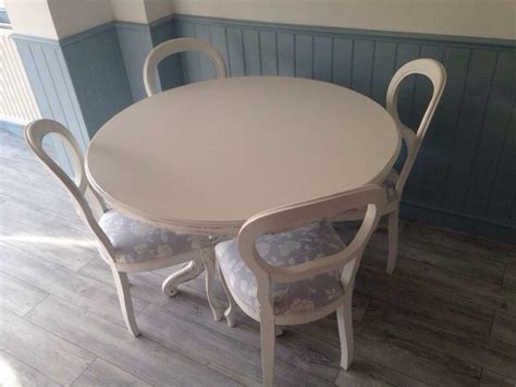 Kitchen Table And Chairs Gumtree Tyne And Wear by Painted Table And Balloon Back Chairs Shabby