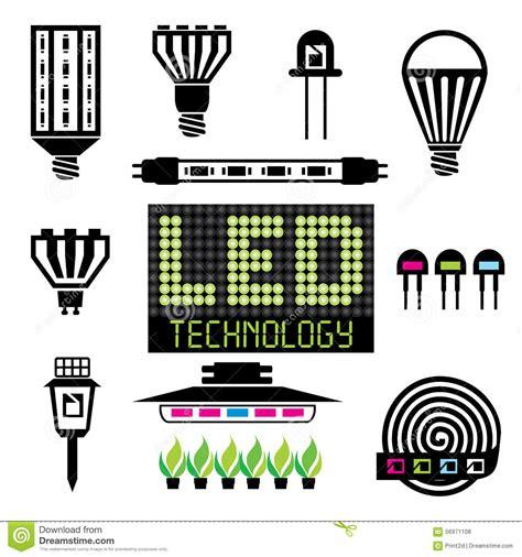 icone illuminazione icone di illuminazione led illustrazione vettoriale
