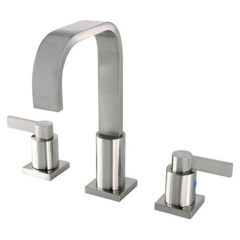 designer bathroom faucets kingston brass modern 8 in widespread 2 handle high arc bathroom faucet in satin nickel
