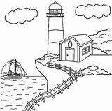 Cliff Coloring Lighthouse Drawings Edge Designlooter sketch template