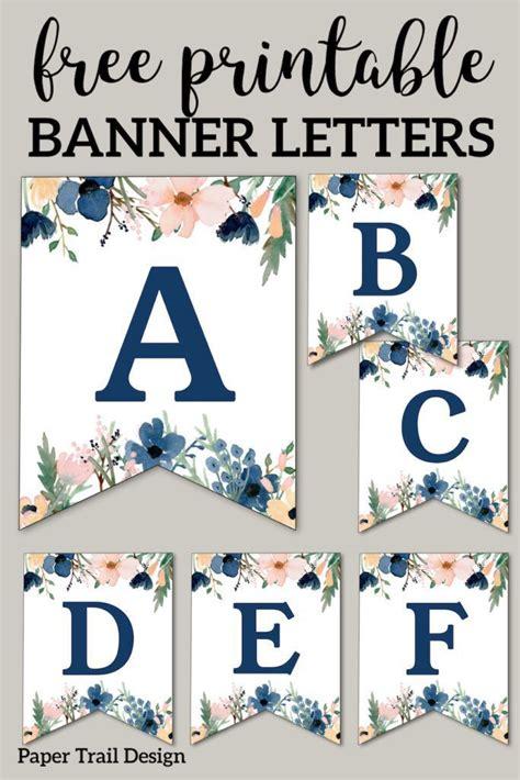 blue pink floral banner letters  printable