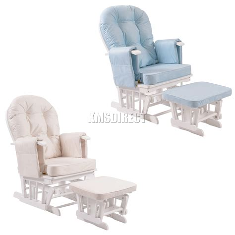 best rocking chair for nursing foxhunter nursing glider maternity rocking chair with stool white wood frame new ebay