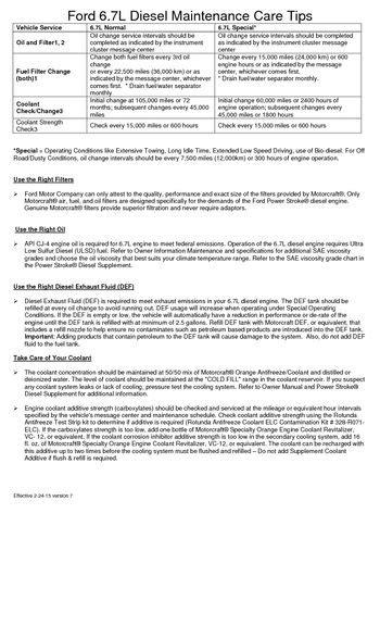 ford   diesel maintenance tips customer letter