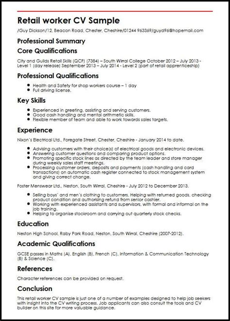 How To Write A Professional Cv Sles by Retail Worker Cv Sle Myperfectcv