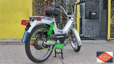 1978 silver puch maxi with cool green accents sold detroit moped works
