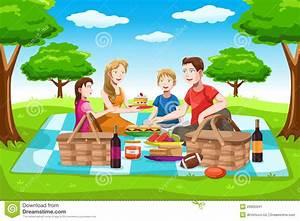 Happy Family Having A Picnic Stock Vector - Illustration ...