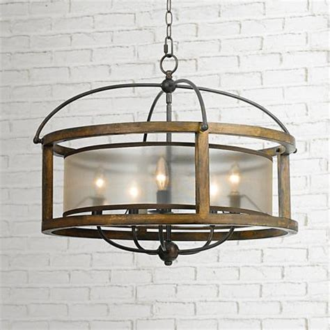 wide chandelier mission 26 quot wide wood 5 light pendant chandelier 6n665
