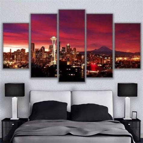 seattle red skyline nature  panel canvas art wall decor